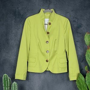 AKRIS Punto Chartreuse Cotton Button Blazer 8